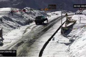 西藏多地降雪,折多山路段临时交通管制,请注意!!